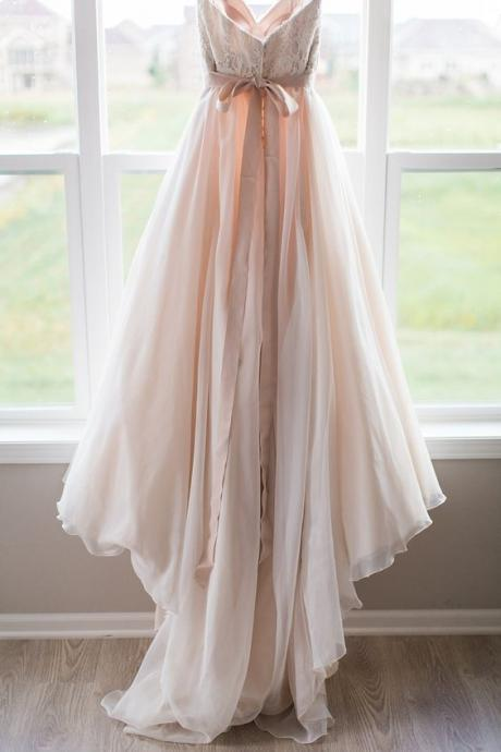 Blush Pink Wedding Dresses Princess Vintage Ball Gown Lace wedding dress for brides