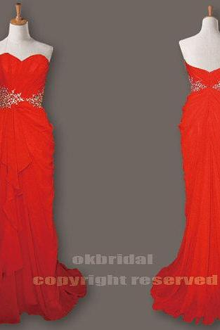 Red bridesmaid dresses, custom bridesmaid dresses, chiffon bridesmaid dresses, long bridesmaid dress, Custom bridesmaid dresses, 17001