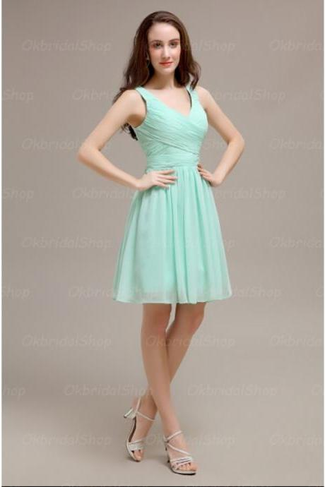 Mint Chiffon Ruched Plunge V Sleeveless Short A-Line Bridesmaid Dress