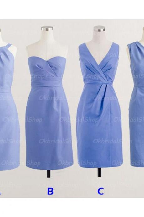 Short bridesmaid dresses, blue bridesmaid dresses, satin bridesmaid dresses, cheap bridesmaid dresses, 17011
