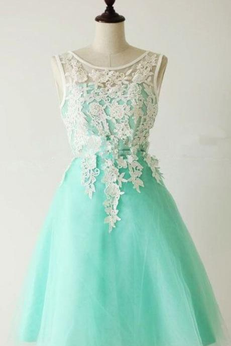 A Line prom dress,Custom bridesmaid dress,Round Neck prom dress,Short prom dress,Lace Prom Dresses,Bridesmaid Dresses,15051305