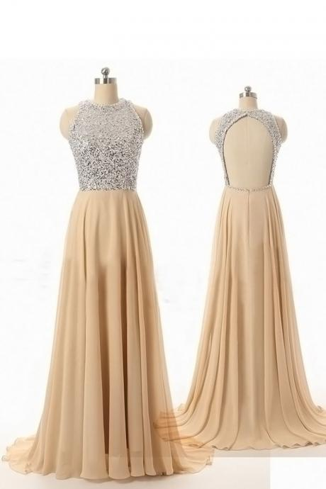 Custom prom dress,evening dress,A Line prom dress,Round Neck prom dress,Backless prom dresses,Long Prom Dresses,15051328