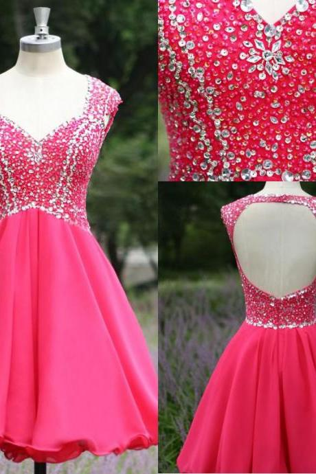 New Arrival Hot Pink Cap Sleeves Backless Homecoming dresses,Rhinestones Open Back Short Prom Dresses Homecoming Dress,Cocktail Dresses,Party Gowns