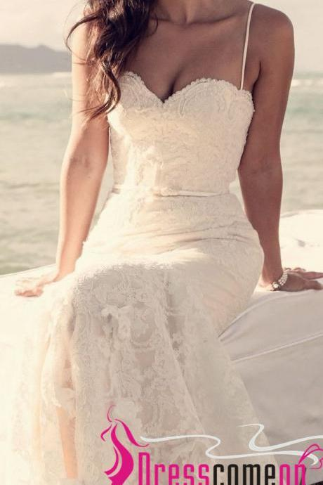 Beach Lace Wedding Dresses Romantic Mermaid Spaghetti Straps White Summer Wedding Gowns