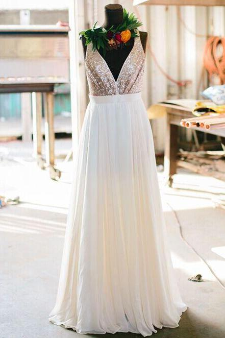 Stylish Bridesmaid Dress Long Champagne Sequin V neckline Summer Bridesmaid Dresses For Wedding Maids