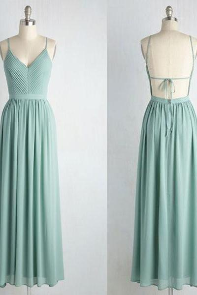 Custom Made V-Neckline Cami A-Line Long Chiffon Bridesmaid Dress with Draped Detailing