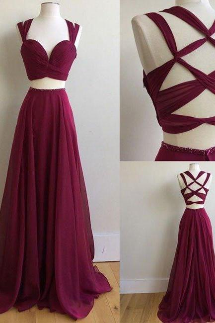 New Arrival A-Line Two-Piece Burgundy Chiffon Long Prom Dress Evening Gowns For Women Party Dress