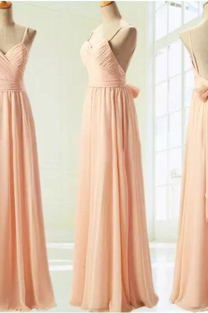 Spaghetti Strap Blush Pink Bridesmaid Dresses,Open Back Hot Summer Long Bridesmaid Dress,Backless Fashion Bridesmaid Dresses Prom Gowns