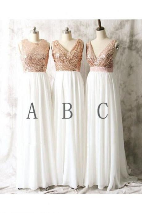 Rose Gold Sequin Bridesmaid Dresses,A Line Shiny Long Bridesmaid Dresses,Gold Sequin White Chiffon Bridesmaid Gowns,Simple Prom Dresses