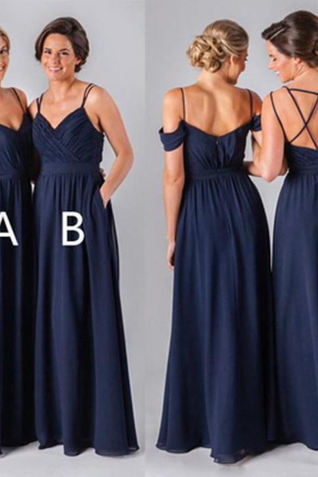 2017 Navy Long bridesmaid dresses, chiffon bridesmaid dresses, custom bridesmaid dresses,cheap bridesmaid dress, affordable bridesmaid dresses, 17134