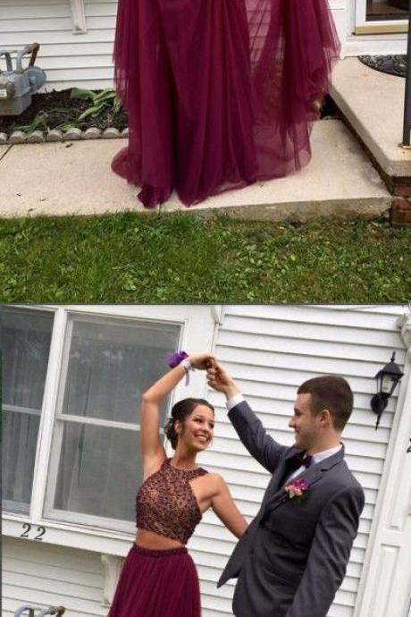 Two-pieces Halter Maroon Open Back burgundy Prom Evening Gowns With Beading Tulle Prom Dress,Party Dress