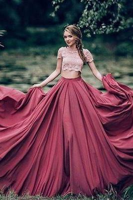 Ball Gown Prom Dress New Gorgeous burgundy Sweep Train lace Sweet 16 Gowns Quinceanera Dresses