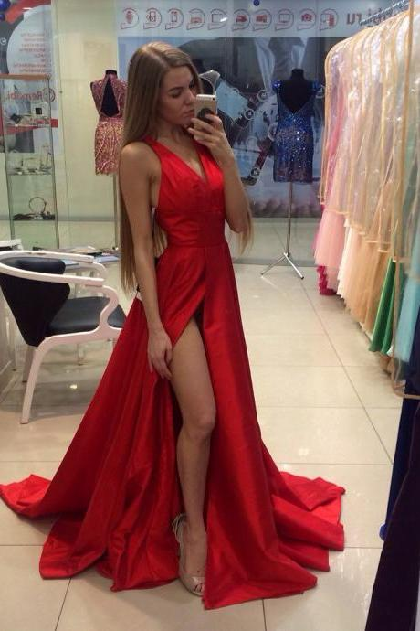 Gorgeous Prom Dress V-Neck red Satin Prom Dresses, Floor-Length Evening Dresses,Prom Dresses
