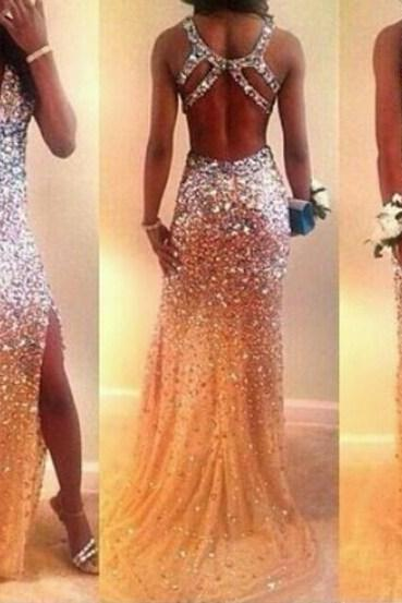 backless prom dresses, Rhinestone prom dresses, Mermaid prom dresses, prom dresses 2017, cheap prom dresses, 154061