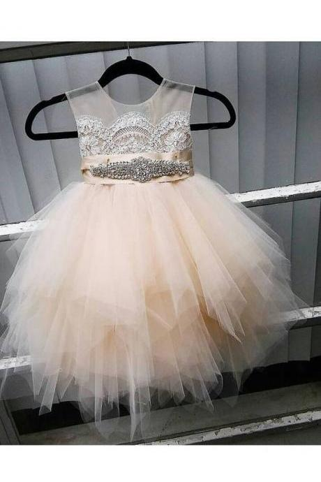 flower girl dress with rhinestone sash, sheer netting, French lace, pouffy champagne/ butterscotch tulle skirt, birthday dress
