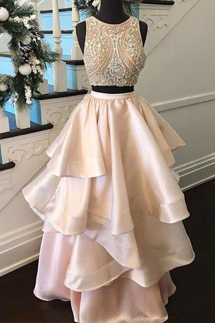 Prom Dress 2017 Princess pink two pieces beaded long prom dress,Blush pink Two piece evening dress For Teens