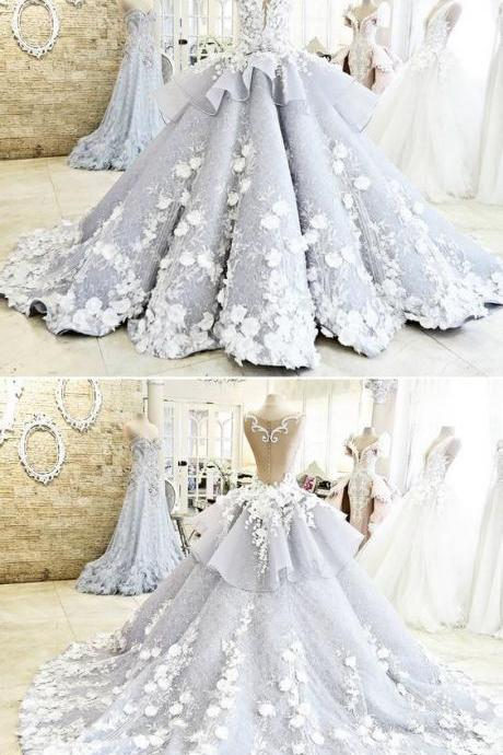 Pretty Light Blue Quinceanera Dress Ball Gown Flowers Evening Dress Long Backless Wedding Prom Gowns Formal Dress For Teens Brides