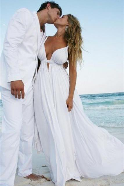 Empire Beach Wedding Dresses With Straps V neckline White Chiffon Summer Backless Wedding Dress