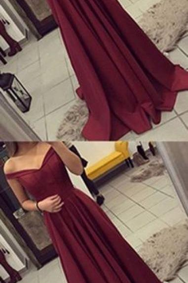 Burgundy Prom Dress, Off The Shoulder Prom Dress, Simple Party Dress Long, Elegant Evening Gown, Long Prom Dresses,A Line Prom Gown