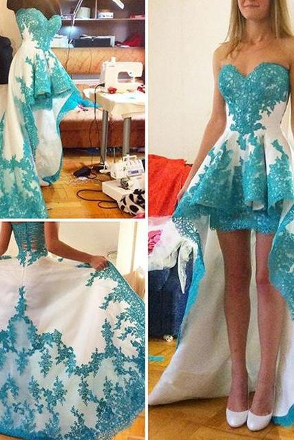 Blue Prom Gown Princess High Low Dance Prom Dresses Lace Evening Dress For Teens