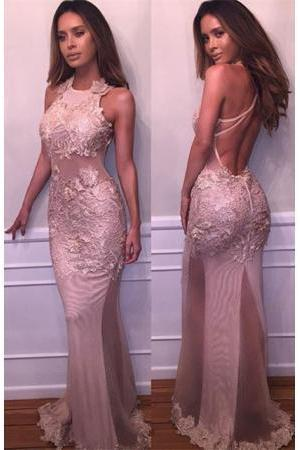 Sexy Mermaid Prom Dresses Unique Sexy Halter Sleeveless Lace Appliques Mermaid Prom Dresses