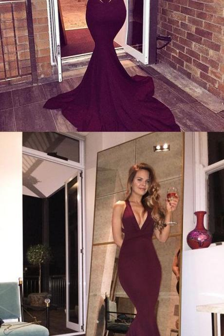 New Fashion burgundy long prom dress, 2017 long prom dress,mermaid long prom dress
