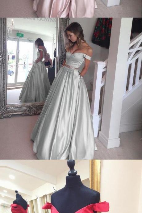 New Arrival Blush Pink Off the Shoulder Ball Gown Prom Dresses,Bodice Beaded Waist Long Evening Prom Gowns With Pocket Graduation Dresses