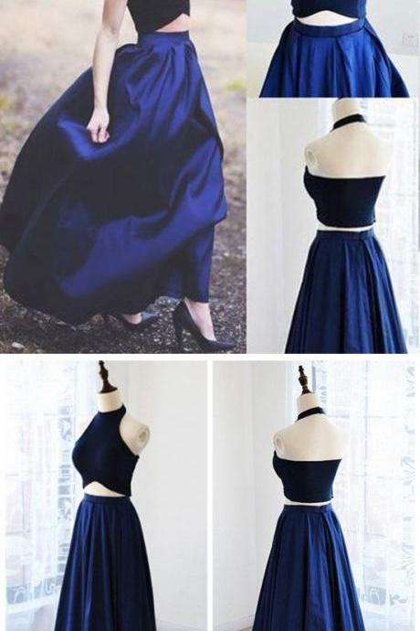 Two Piece Prom Dresses Simple Navy Blue Satin Evening Dresses 2 Pieces Gowns