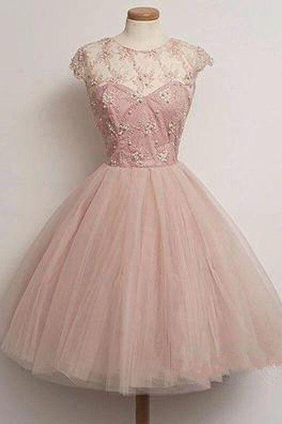 New Homecoming Dresses With Beads Glitter Bodice Short Prom Dress Sexy Pink Cocktail Gowns