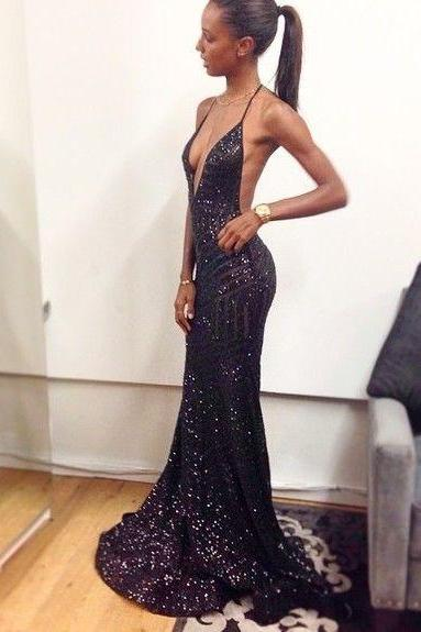 Pretty Black Prom Dresses Mermaid Prom Dress Open Backs Sequined Prom Dress Backless Sequins Prom Dresses