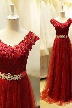 Princess Prom Dresses With Lace Bodice Prom Dress Burgundy Evening Gowns