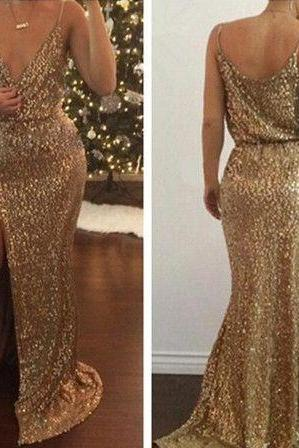 Charming Gold Sequined Party Dress Evening Dress Prom Dress Mermaid Slit Prom Gown