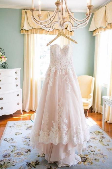 Blush Pink Wedding Dresses High Low Vintage Lace wedding dress for brides