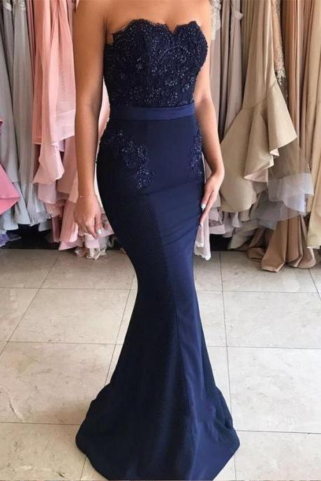 Navy Blue Long Prom Dress,Strapless Mermaid Appliques Long Prom Dress,2017 Prom Dress,Navy Blue Prom Dress,Mermaid Prom Dress,Woman Evening Dress