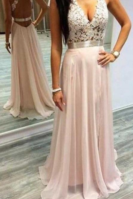 Sexy Pink Prom Dresses Halter V-Neck Lace Sleeveless Open Back Chiffon Elegant Evening Gowns