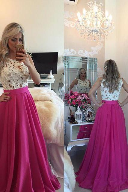 Top Selling White Lace Hot Pink Prom Dress,Cheap Prom Dresses,See Through Evening Dress,Long Graduation Dress,Formal Women Dresses