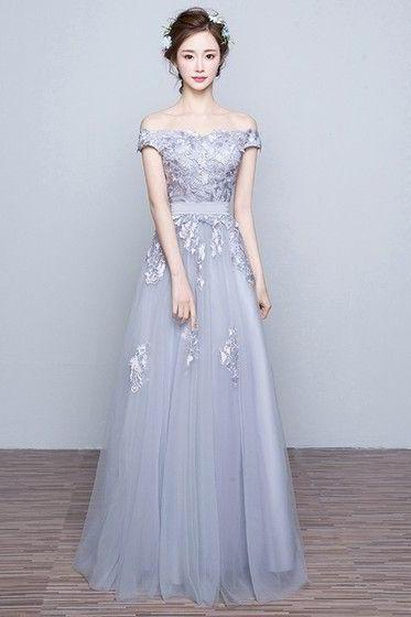 Simple A-line Gray Tulle Appliques Lace Off the shoulder Prom Dresses For Teens