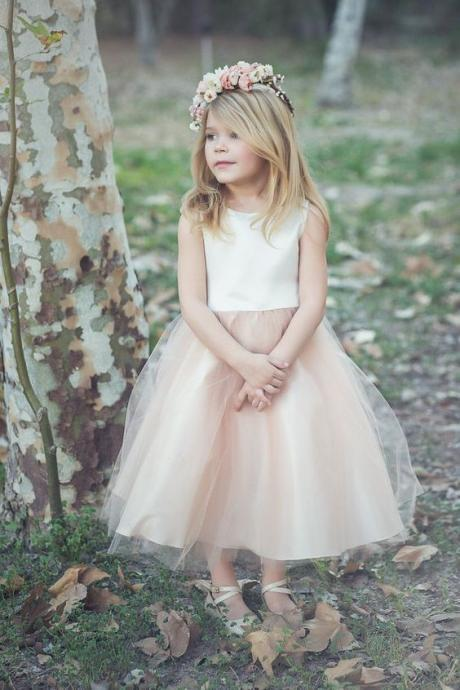 Flower Girl Dresses for Wedding Blush Pink Princess Tutu 2017 Vintage Child Dress Cheap Girl's Pageant Dress