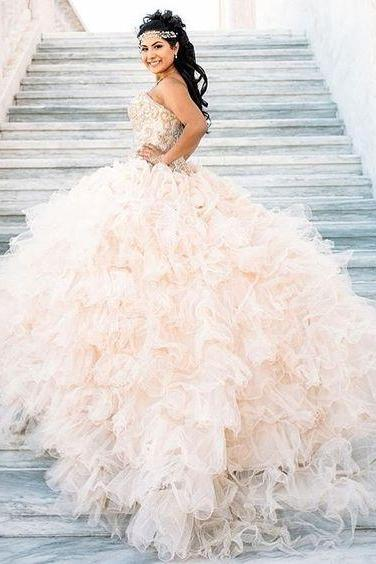 Glitter Quinceanera Dress Modest Ball Gown Tulle Wedding Dress With Beading Long Blush Pink Sweet 15 Prom Gowns