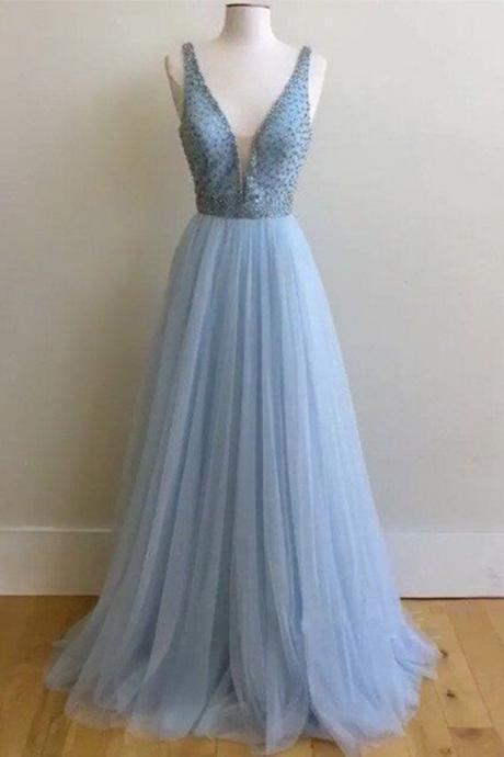 Beautiful V-Neck Beading Prom Dress,Long Prom Dresses,Charming Prom Dresses,Evening Dress Prom Gowns, Formal Women Dress,prom dress
