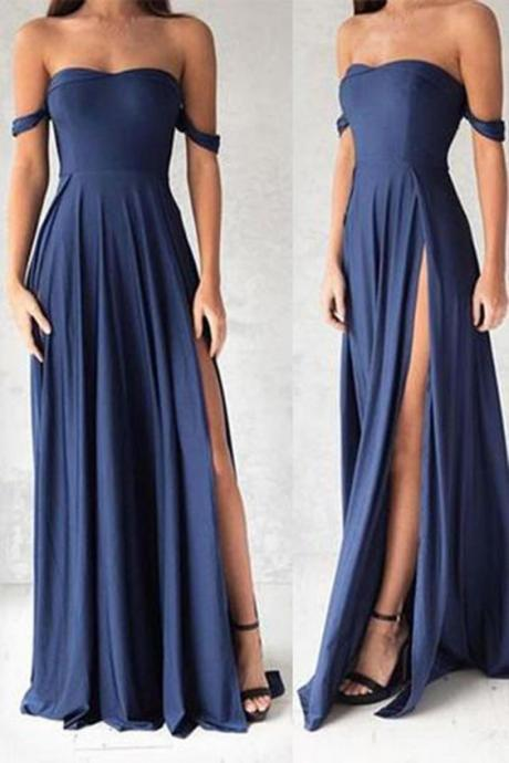Prom Dress Simple Chiffon Navy Blue Off the shoulder Slit Prom Dresses For Teens