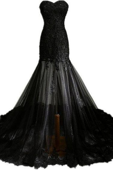 New Prom Dresses With Strapless Tulle Long Black Lace Evening Gown For Teens