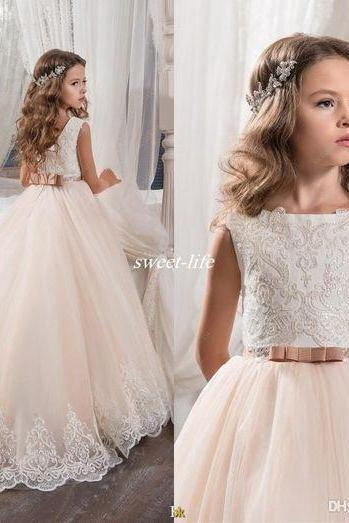 Flower Girl Dresses for Wedding Blush Pink Princess Tutu Lace Bow 2017 Vintage Child First Communion Dress Cheap Girl's Pageant Dress