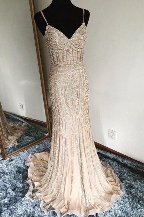 champagne prom dress,mermaid prom dress,mermaid evening dress,gold beading dress,prom dress 2017,luxury evening gowns