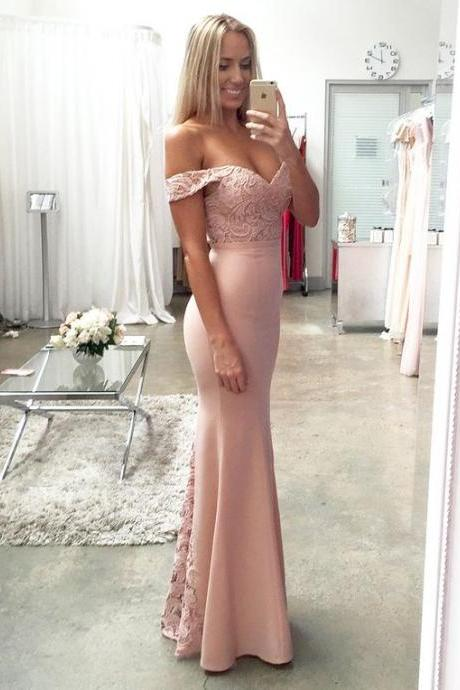 Beautiful Blush Pink Mermaid Prom Dresses Bridesmaids Gown Modest Long Evening Dresses