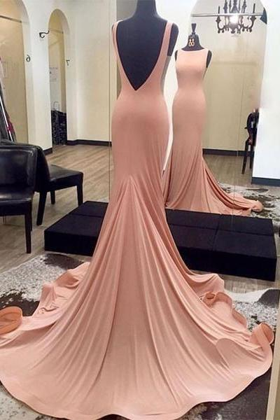 Gorgeous Blush Pink Backless Formal Gown, Jersey Fitted Pageant Gown, Long Dress With Sweep Train