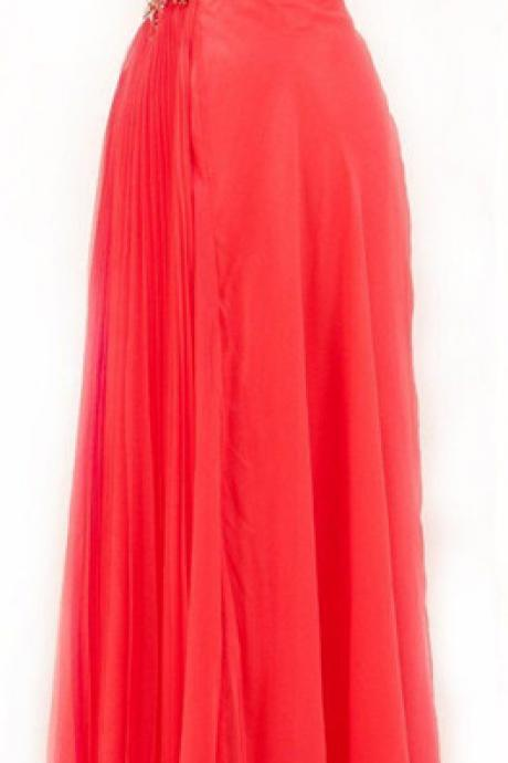 Elegant A Line One Shoulder With Silver Beading Prom Dress Chiffon Red Evening Dresses For Teens