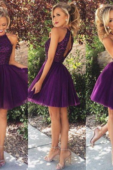 Halter open back homecoming dress, Sexy Halter prom dresses, Purple beaded Homecoming dresses, Sexy Tulle dresses, Short prom dresses, 16046