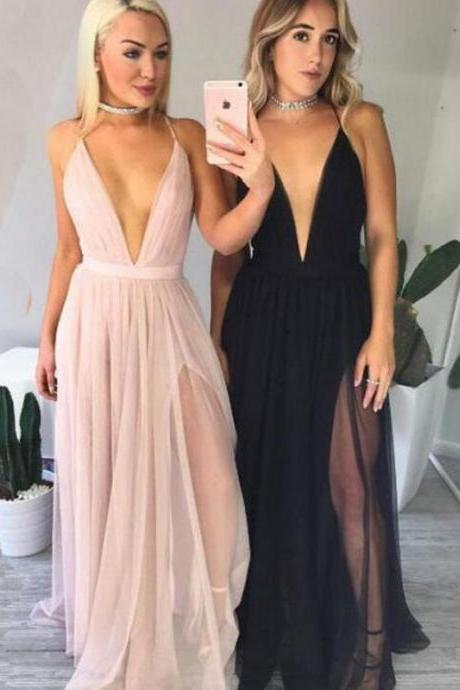 Sexy Deep V Neckline Party prom dresses, Black Tulle Evening prom dresses, prom dresses 2017, Custom prom dresses, dresses for prom, 17090
