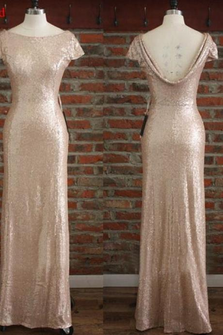 gold bridesmaid dresses, sequin bridesmaid dresses, short sleeve bridesmaid dresses, mermaid bridesmaid dresses, modest bridesmaid dresses, 17809